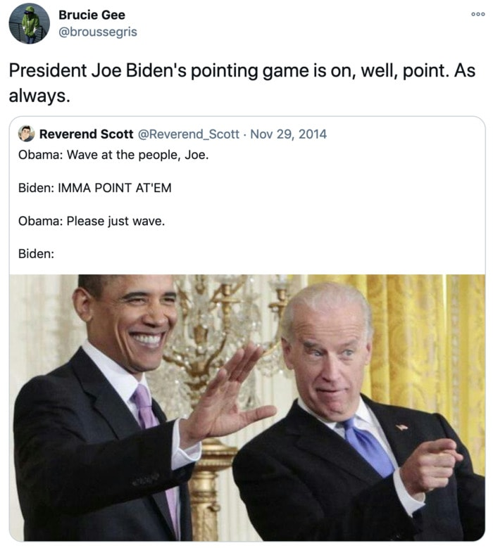 Inauguration Day Tweets Memes - Biden pointing