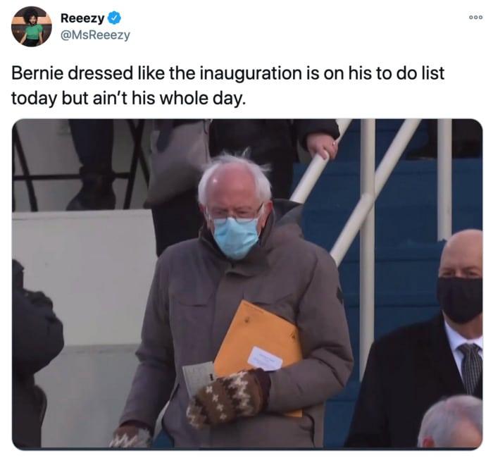 Inauguration Day Tweets Memes - Bernie power move