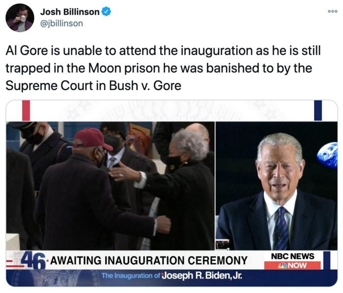 Inauguration Day Tweets Memes - Al Gore moon