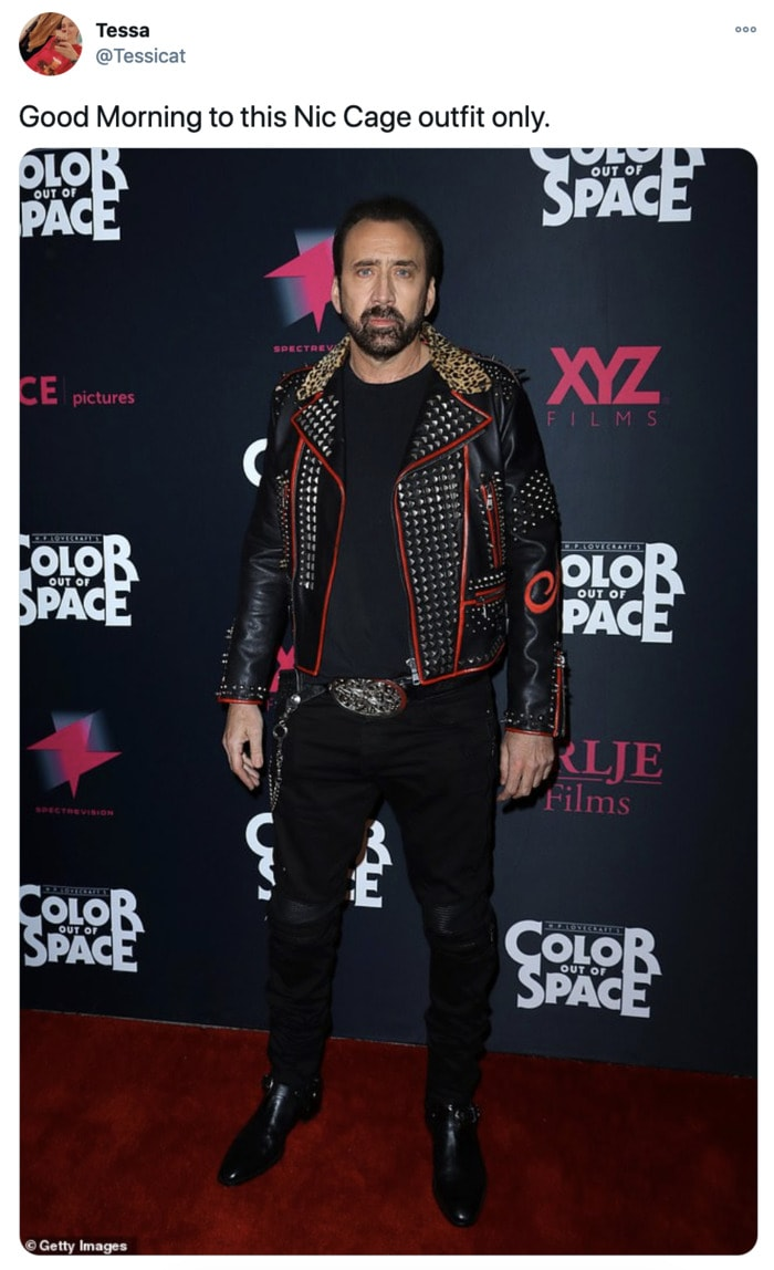 Nicolas Cage Outfits - Studded Leather Jacket with Trim