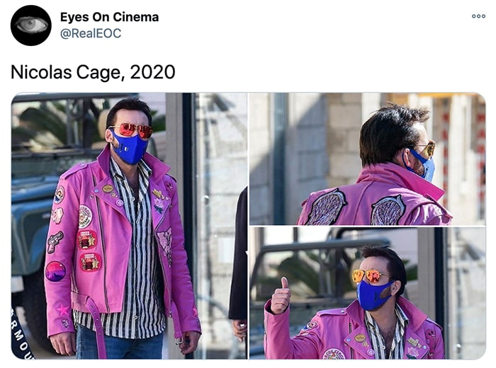 Nicolas Cage Outfits - Pink Leather Jacket