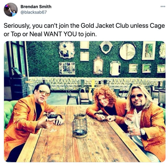Nicolas Cage Outfits - Gold Jacket