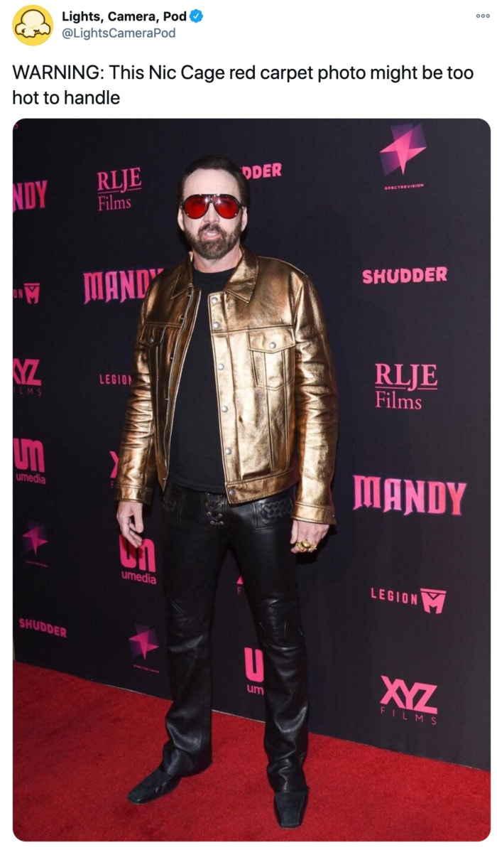 Nicolas Cage Outfits - Gold Leather Jacket