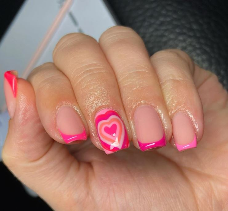 Valentines Nails - Pink hearts and tips