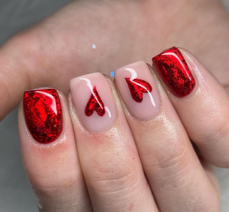 Valentines nails - Red shimmer hearts
