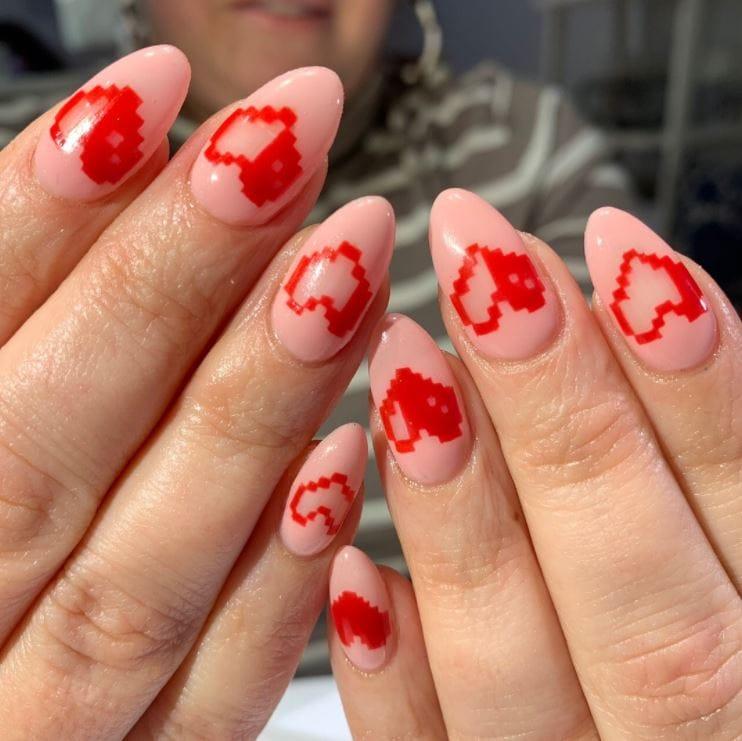 Valentines Nails - Pixel hearts