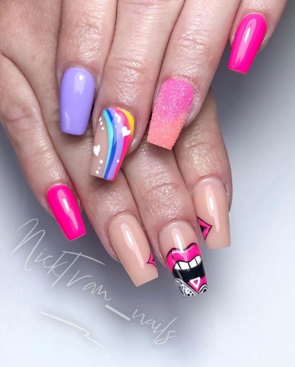 Valentines Nails - Rainbow glitter and pop art