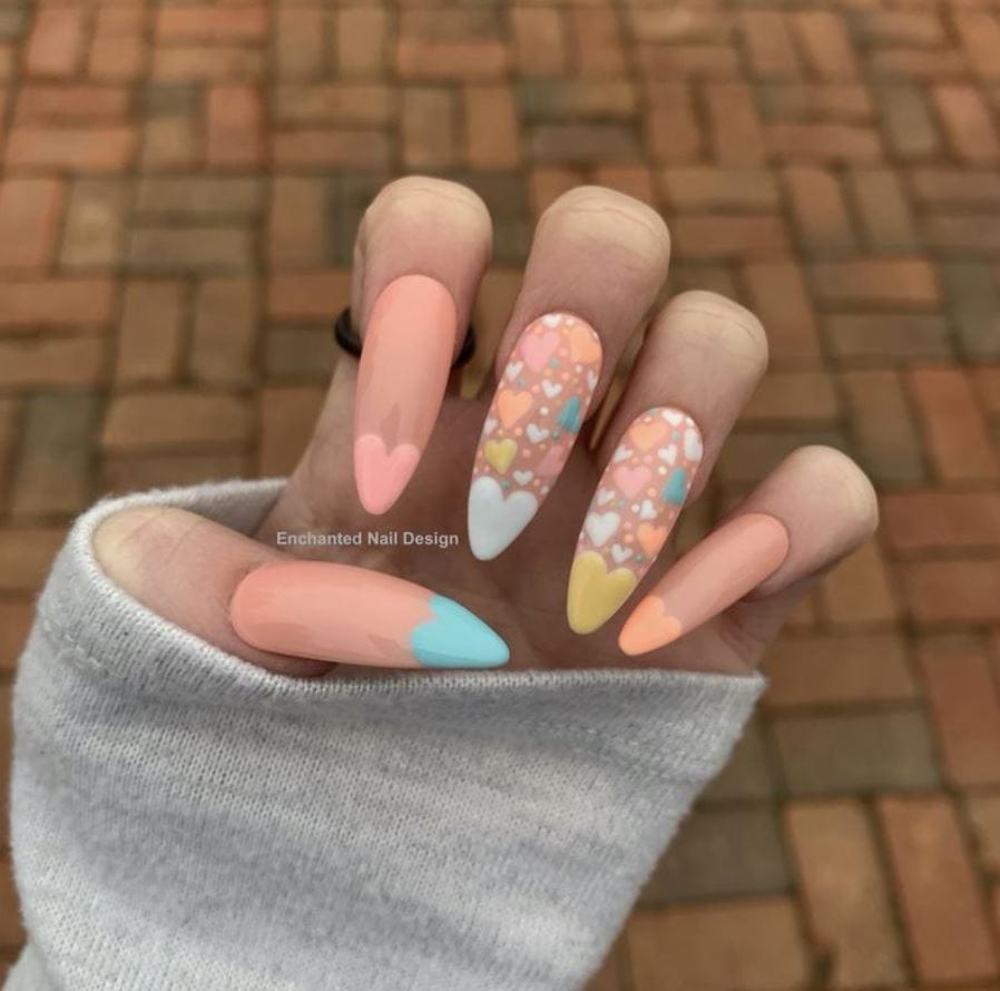 Valentines Nails - candy pastel hearts