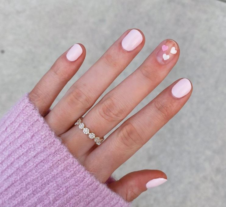 Valentines Nails - White pink and hearts