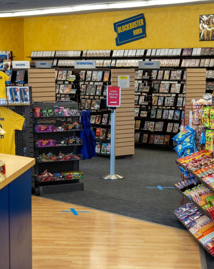 Blockbuster eyeshadow palette - inside a Blockbuster store