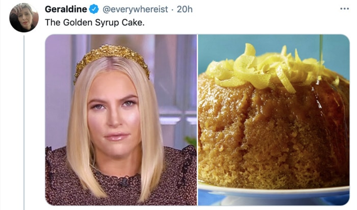 Meghan McCain Hairstyle as Dessert - Golden Syrup Cake