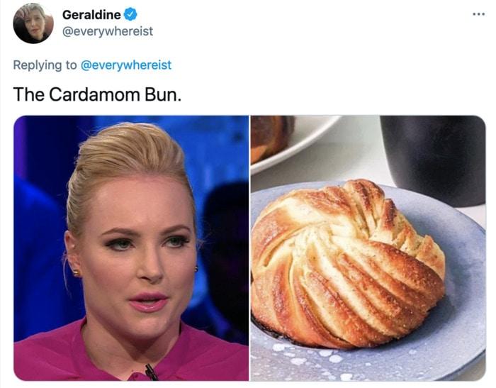 Meghan McCain Hairstyle as Dessert - Cinnamon Bun