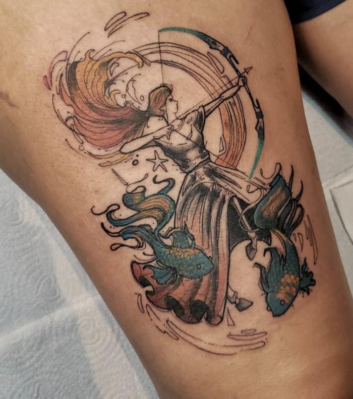 Pisces Tattoos - sagittarius archer fish tattoo