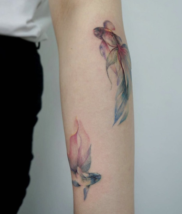 Pisces Tattoos - watercolor matching fish