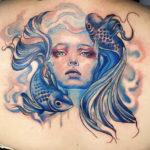 Pisces Tattoo Ideas - fish hair mermaid