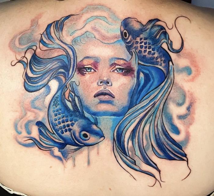 Pisces Tattoos - fish hair mermaid