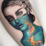 Pisces Tattoo Ideas - fish bowl woman tattoo