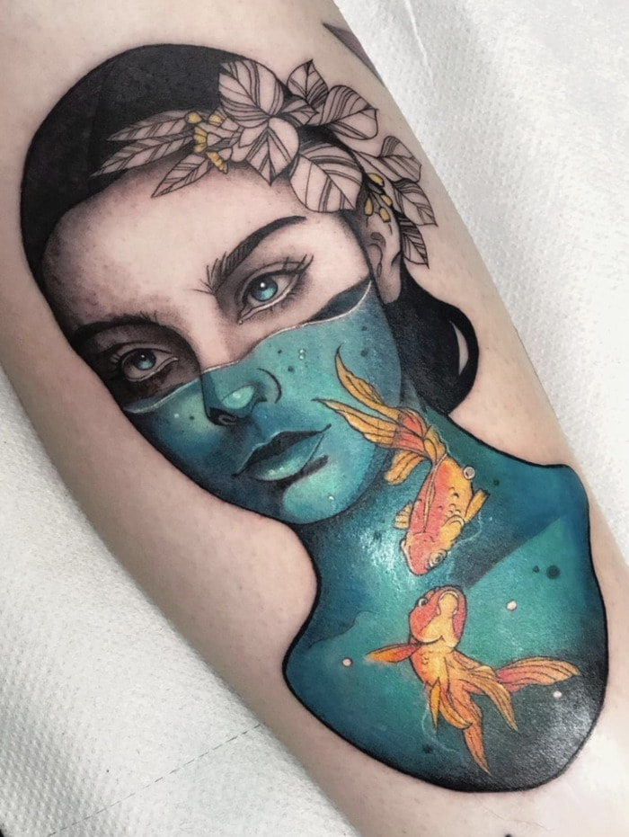 Pisces Tattoos - fish bowl woman tattoo
