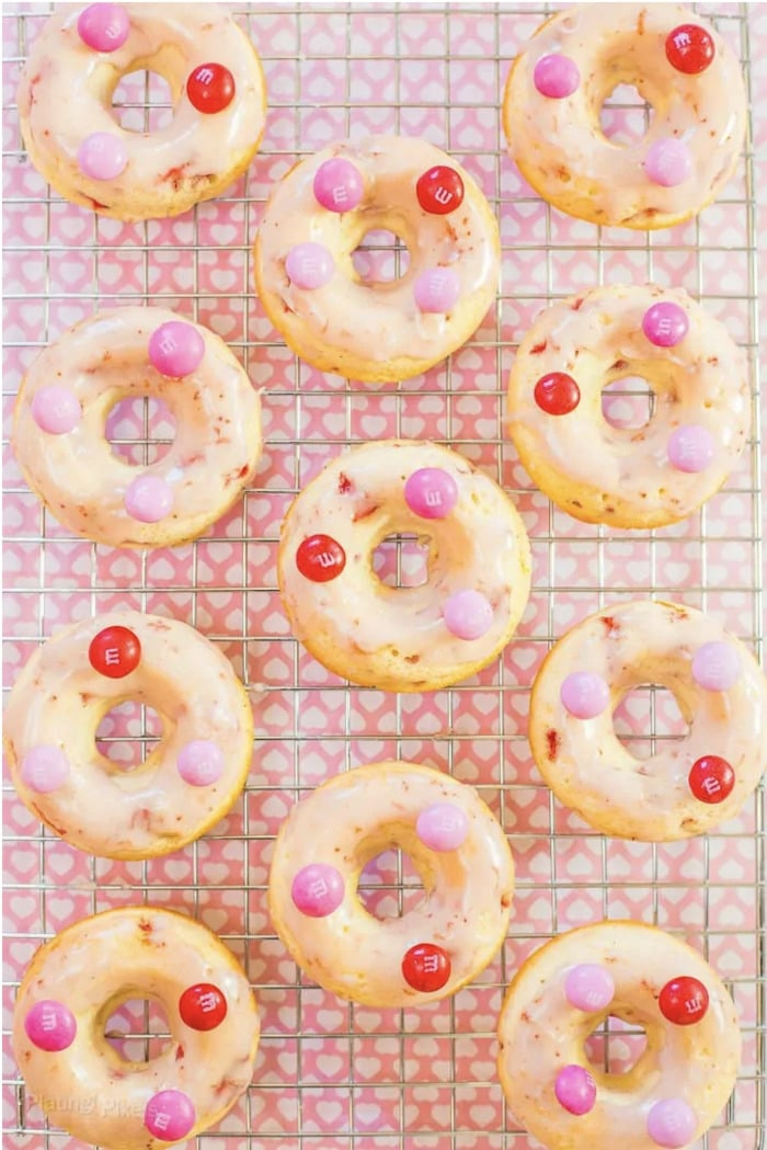 Valentine's Day Donuts - M&M topped donuts