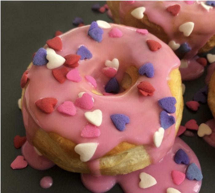 Valentine's Day Donuts - air fryer valentines donuts
