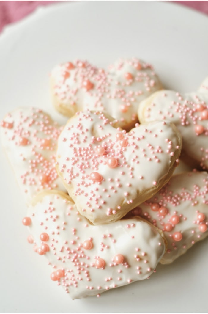 Valentine's Day Donuts - heart shaped air fryer donuts