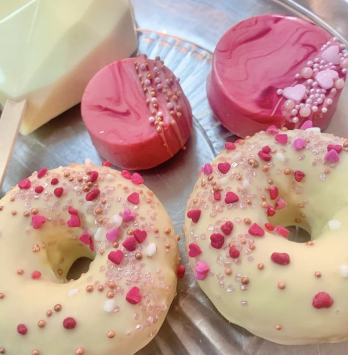 Valentine's Day Donuts - white chocolate dipped donuts