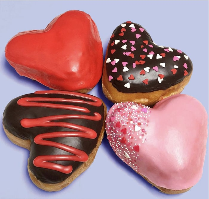 Valentine's Day Donuts - heart-shaped cream-filled donuts