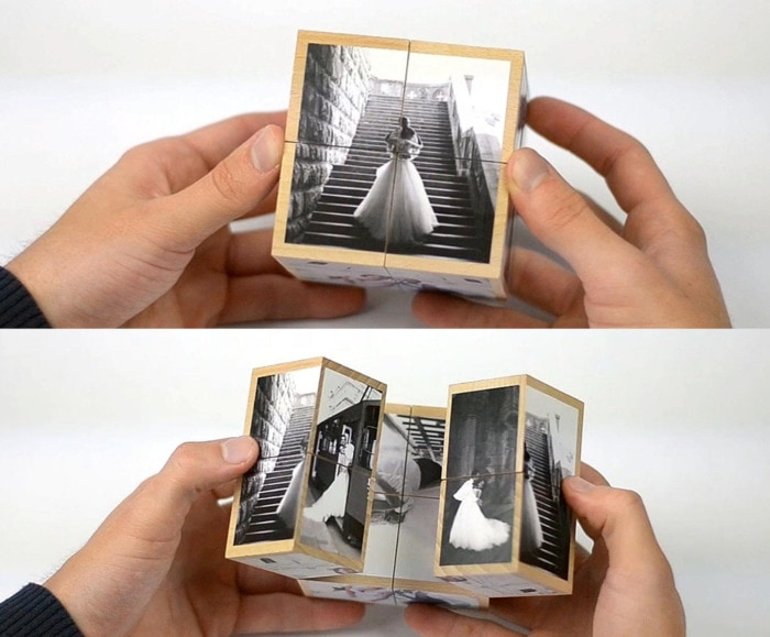 Valentines Day Gifts - custom wooden photo cube