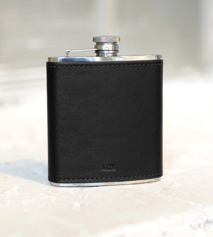 Valentines Day Gifts - engraved leather flask