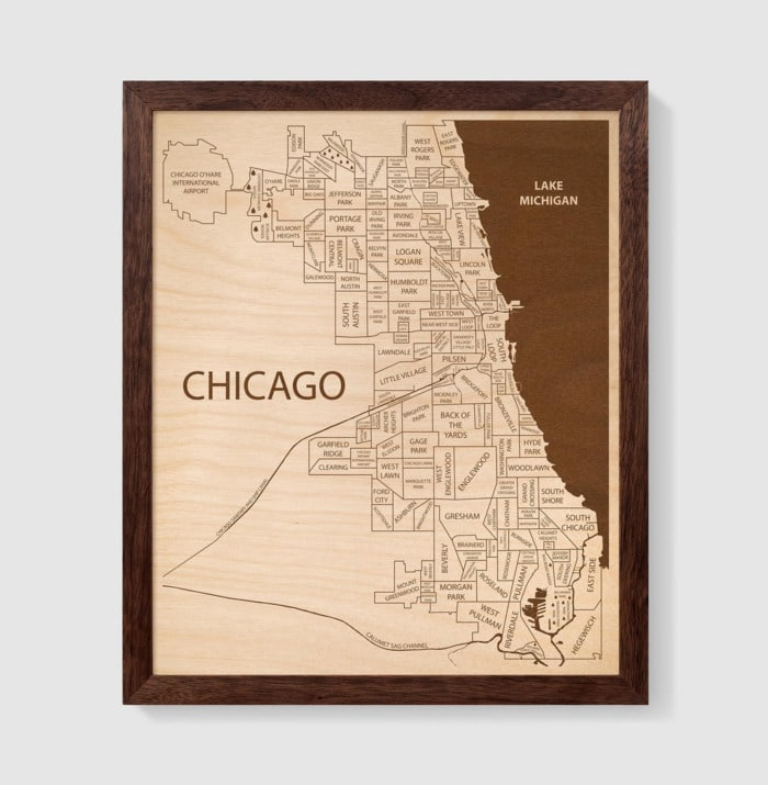 Valentines Day Gifts - Chicago wall map