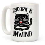 Wine Puns - uncork and unwind yoga cat