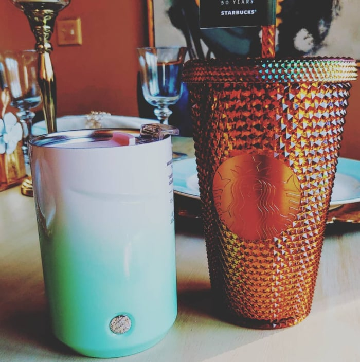 Starbucks Spring Cups - Green Ombre Mug and Gold Studded Tumbler