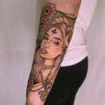 Aries Tattoo - neo-traditional ram woman independent ink