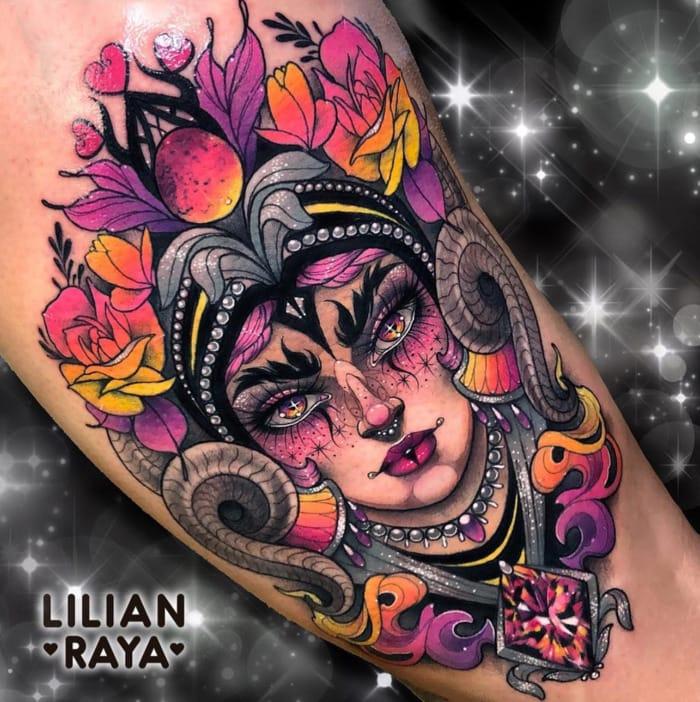 Aries Tattoo - empowered woman ram colorful tattoo