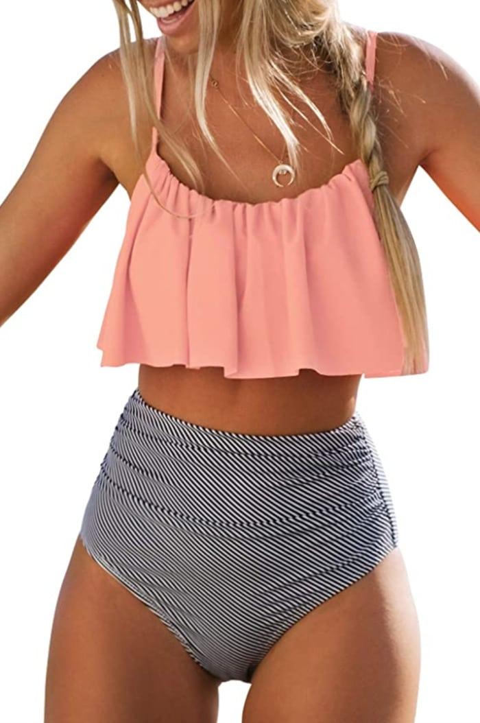 Best Swimsuits 2021 - Cupshe High Waisted Falbala bikini set