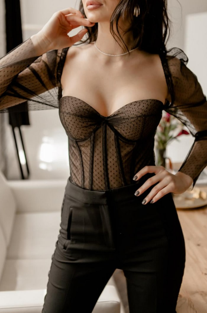 Corset Roundup - long sleeve black tulle bustier top