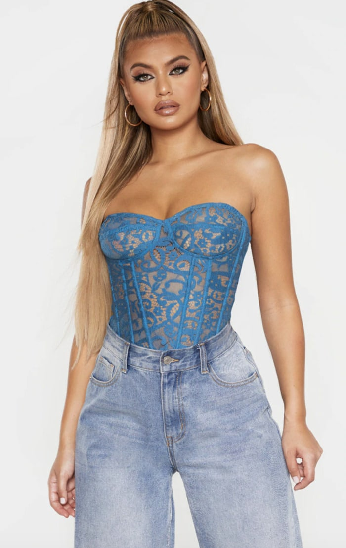 Corset Roundup - Pretty Little Thing blue sheer lace structured corset top