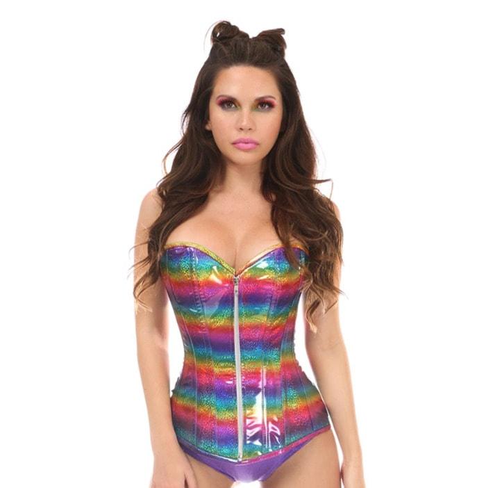 Corset Roundup - Violet Vixen rainbow pride overbust corset