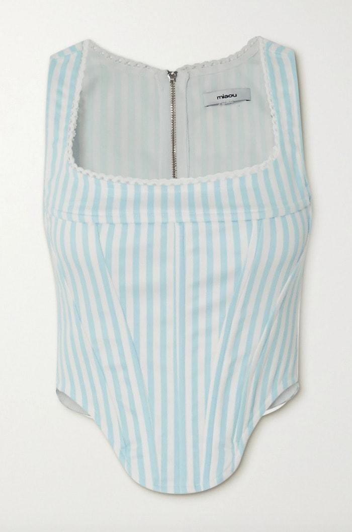 Corset Roundup - Miaou lace trimmed striped denim corset