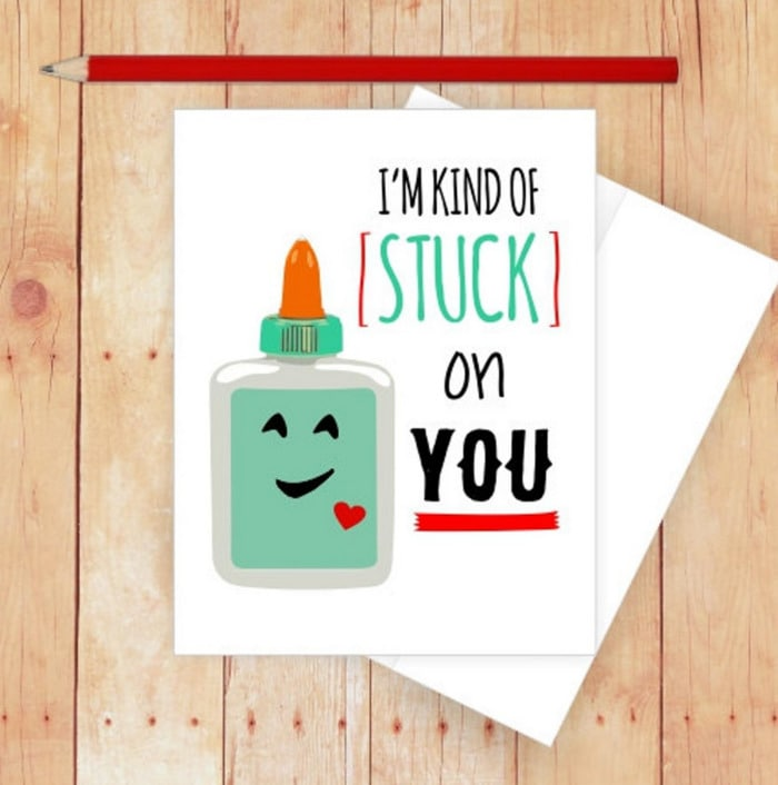 Cute Puns - I'm Stuck On You glue greeting card