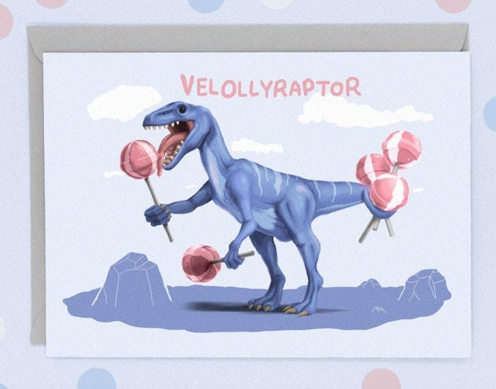 Cute Puns - Velollyraptor lollypop dinosaur greeting card