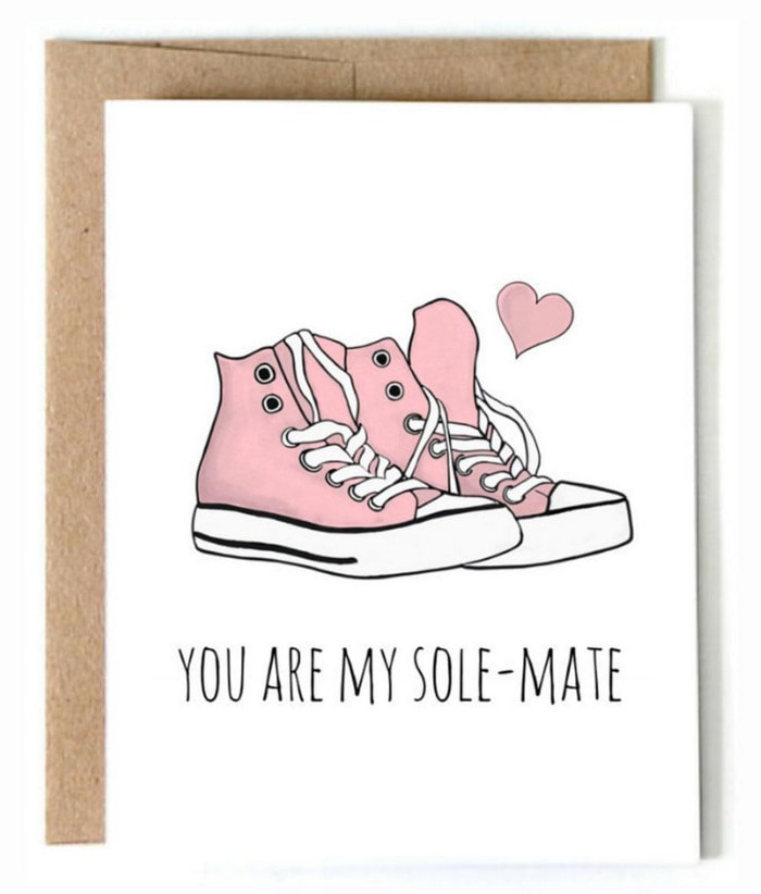 Cute Puns - You are my sole-mate Converse greeting card