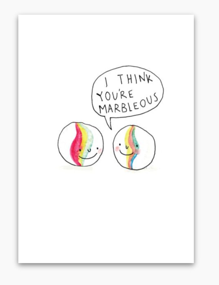 Cute Puns - I think you're marbleous marble greeting card