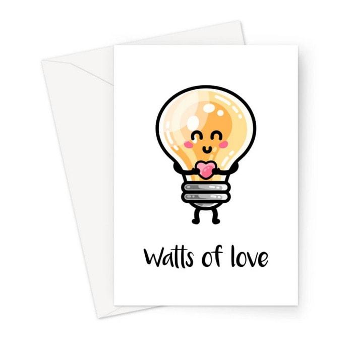 Cute Puns - Watts of love lightbulb greeting card