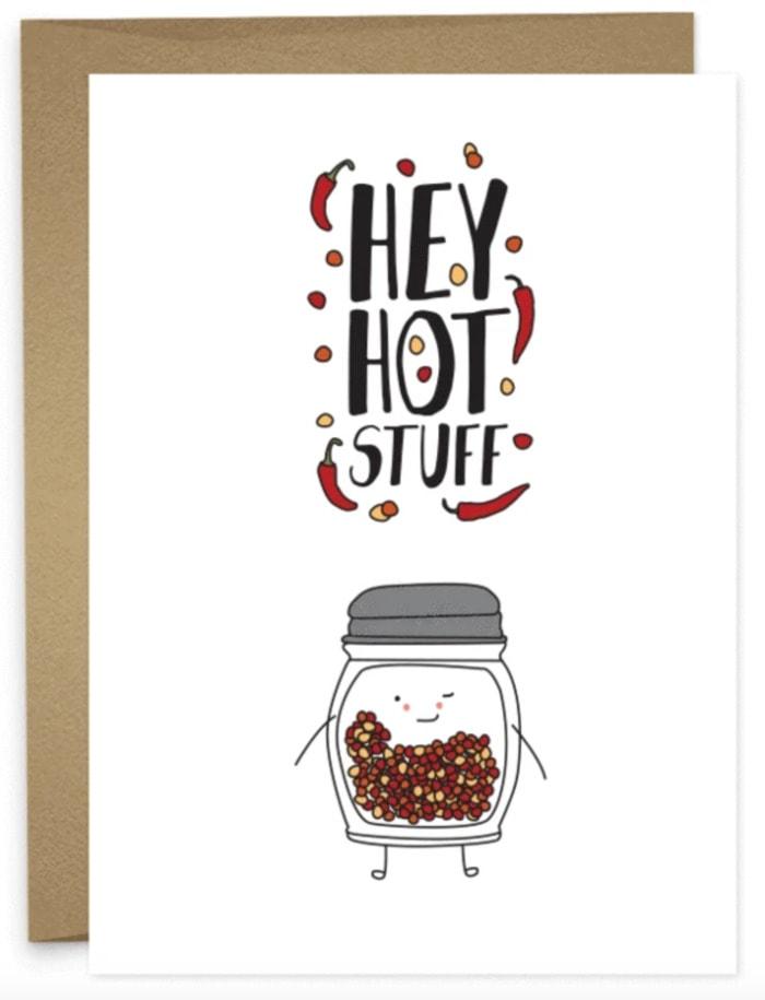 Cute Puns - Hey hot stuff pepper flakes greeting card