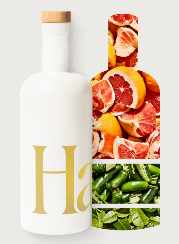 Grapefruit Jalapeño - Haus aperitif bottle with grapefruit slices and jalapeños
