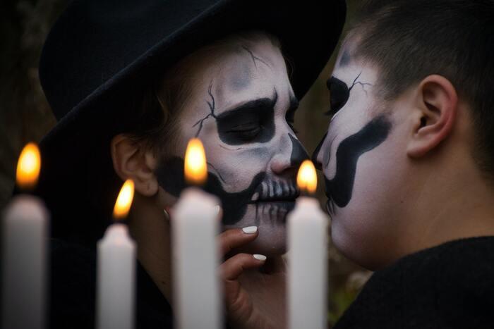 Halloween Instagram Captions - skeleton couple
