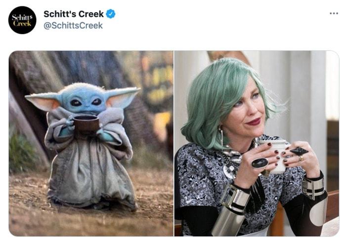 Schitt's Creek memes - Baby Yoda as Moira Rose