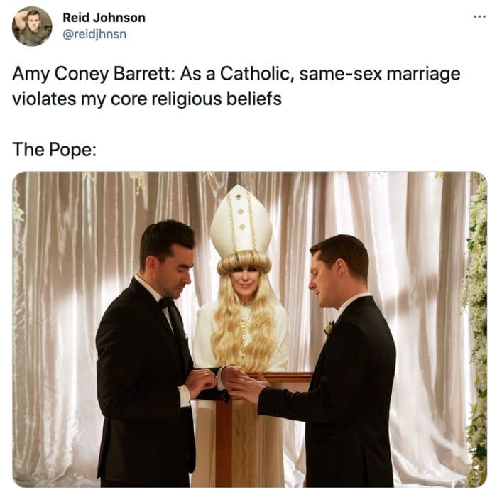 Schitt's Creek memes - Moira Rose as the Pope