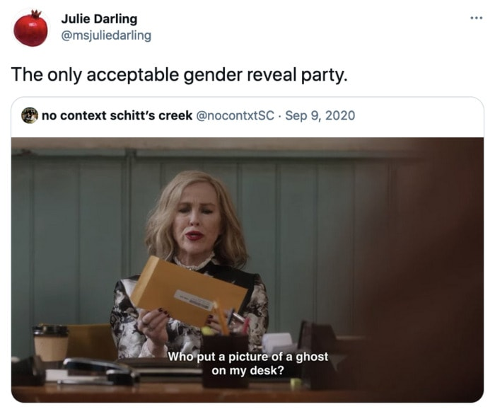 Schitt's Creek memes - gender reveal party
